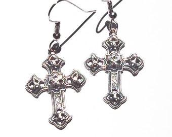 Embossed Metal Cross Earrings