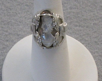 Shell Cameo and Sterling Silver Wire Ring