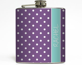 Personalized Flask with Your Name on Custom Color Polka Dot Pattern - Stainless Steel 6 oz Liquor Hip Flask LC-1190