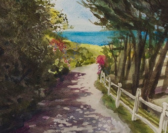 Shady Stroll, Watercolor Print, Bodega Bay, Trees, Beach View, Northern California Coast, Green, Blue