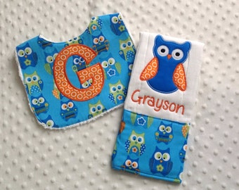 Baby Boy 2 Piece Gift Set,  Bib and Personalized Burp Cloth ,Boy Owls