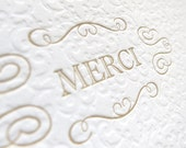 Letterpress Cards - Merci / Thank You in Gold (Set of 6)