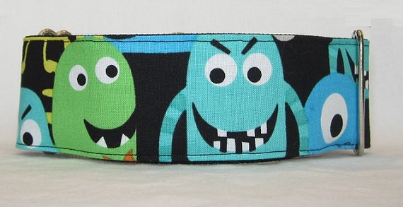 Mega Monster Martingale Collar - 2 Inch - colorful blue green orange alien fun large