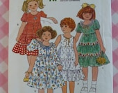 UNCUT Butterick Pattern 6089 Girls Dress Size 3  Breast 22 Vintage 1980s Easy to Sew Quick