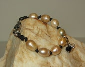 Carol's Knotted Black Leather Cord Bracelet with Freshwater Blush Pearls and Charms