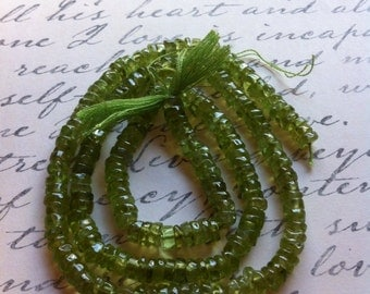 Genuine Peridot Tyre Smooth Rondelle Beads