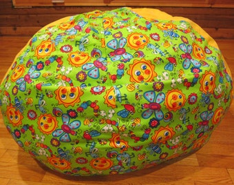 Springtime - Green Bug / Sun Bean Bag Cover - Under 75 - Butterflies, Bees, Caterpillars, Rainbows, Sunshine, Green, Yellow, Blue, Etsy Kids