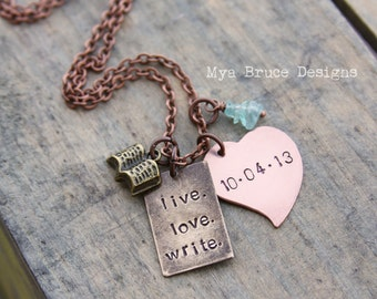 mixed metal necklace - live.love.write. With personalized copper heart