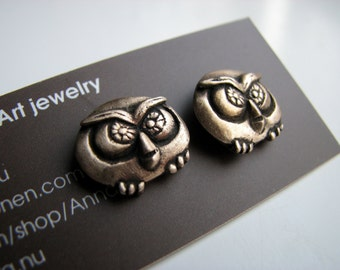 Owl stud earrings, owl jewelry