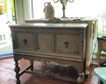 Vintage Sideboard Server Cabinet Painted In French Linen