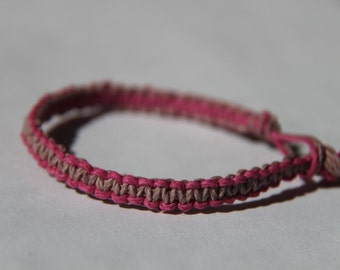 Two Color Pink Hemp Bracelet