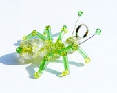 Lime Ant - peridot colored glass beaded insect