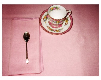 Vintage Pink Linen Tablecloth with 8 Napkins/ Bridge Table Cloth