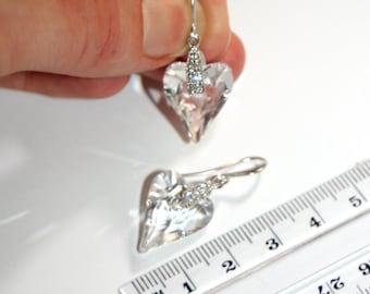 Austrian Swarovski Wild heart clear crystal silver drop earrings