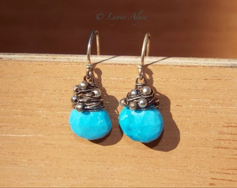 Oxidized sterling silver and turquoise briolette earrings
