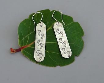 Footprints in the sand fine silver earrings