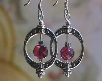 Silver and Garnet Earrings, birthday gift, Downton Abbey style jewelry