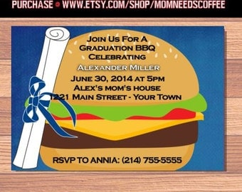 Burger Invitation - burger invitations, burger invites, burger invites, burger, party invite, party invitation