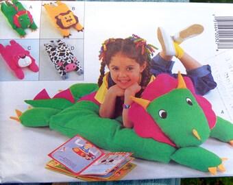 Animal Floor Pillow Covers Pattern Butterick 3721 Dinosaur Lion Cow Dog Pillow Cover UNCUT