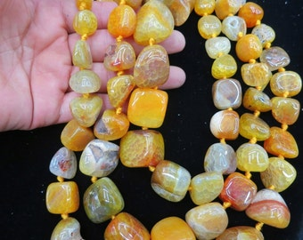 Bright Yellow Agate nugget beads 15x20-8x12mm- 22pcs/strand