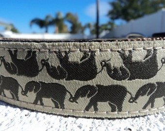 """Sale Dog Collar Elephant Reflections 1"""" width side release  buckle adjustable - martingale collar is cost upgrade"""