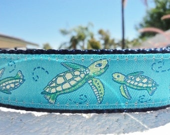 "Martingale collar or Quick release buckle Sea Turtles 1"" width adjustable - see description details within. Include dogs neck measurement"