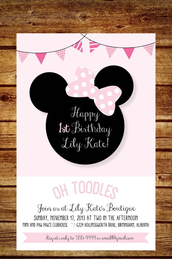 Pink And White Minnie Mouse Birthday Party Invitation Shabby