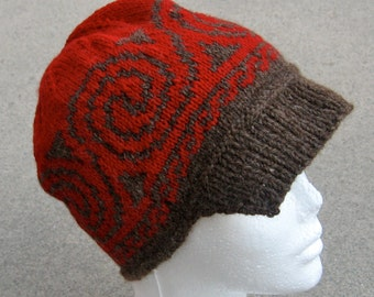 wool hat with brim: Celtic wave in red and brown