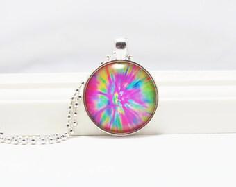 Tie Dye Pendant, Tie Dye Necklace, Retro Jewelry, Hippie Jewelry, Groovy Jewelry