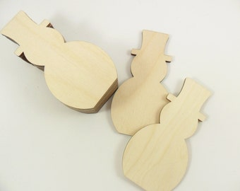 "12 Snowman Wood Cut Out 4"" x 2 1/8"" x 1/8"" Laser Cut Select No Hole or 1 Hole for Hanging"