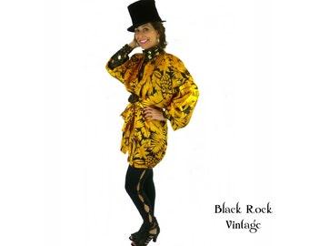 Kimono Jacket, Oversized Slouchy, Leaf Print Mustard and Black, Vintage 1980s, One Size