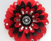 Galactic Empire Red Penny Blossom Sparkly Rhinestone Flower Barrette
