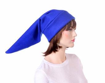 Royal Blue Elf Hat 2 Ft Long Pointed Beanie Fleece Costume Cap