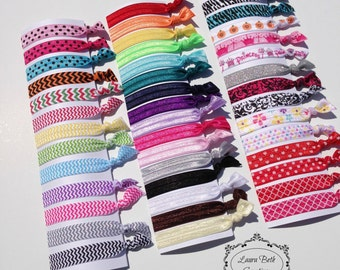Set of 8 FOE Hair Ties - Lot of colors/prints to choose from - Womens, Teen, Girls Hair Ties - Ponytail Holders - Hair Tie Set - Elastic