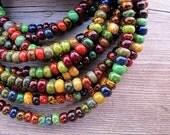 Bohemian Czech Glass Cuff, Seed Bead Bracelet, Wooden Clasp, Autumn Color, Harvest