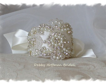Crystal Pearl Bridal Cuff Bracelet, Pearl Wedding Cuff Bracelet, Jeweled Wedding Cuff, Rhinestone Bridesmaid Bracelet, Gift, No. 3080CB,