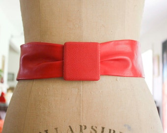 Leather Red 80s Belt