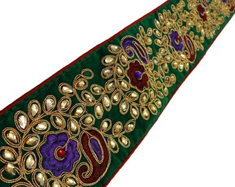Grenn Designer Paisley CZ Stone Beaded Trim Supplies Fabric Lace Sewing Golden Embroidered Indian Sari Border Sew Lace Trim  By 1 Yard FT391