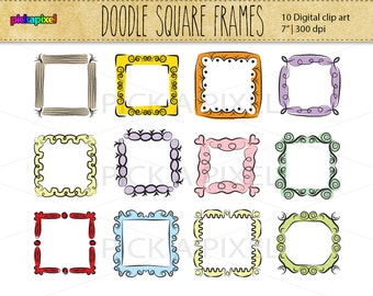 digital doodle fun frames clip art personal and commercial use