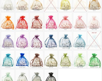 260 Organza Bags, 3 x 4 Inch Sheer Fabric Favor Bags, For Wedding Favors, Drawstring Jewelry Pouch- Choose Your Color Combo