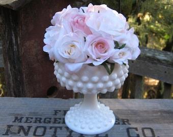 Fenton Hobnail Compote - Wedding Centerpiece - Oak Hill Vintage
