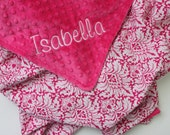 PERSONALIZED Baby Girl Minky Stroller Blanket - Pink and White Damask with Fuchsia Pink Minky