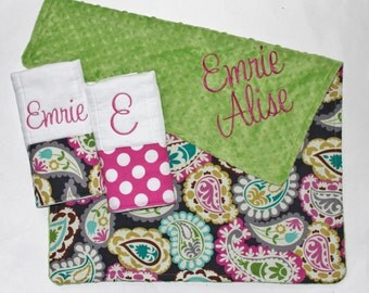 PERSONALIZED Baby Girl Stroller Blanket and 2 PERSONALIZED Burp Cloth Set - Paisley with Green Minky