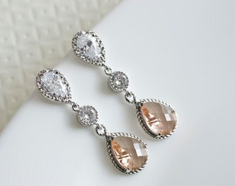Champagne Peach Earrings, Bridesmaids Earrings, Cubic Zirconia Ear Posts, Cubic Zirconia Connectors and Champagne Peach Glass Teardrops