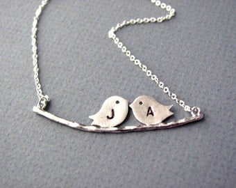 Personalized Handstamped Silver Love Birds Necklace- Valentine, anniversary, mom gift, necklace also available in gold.