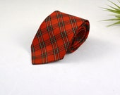 Vintage midCentury red PLAID Mens Neck Tie by Van Heusen ALL SILK Mad Men 1960s Style Mens Clothing