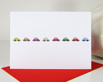 Row of Little Cars Card - Birthday Card - Birthday for Him - Fathers Day - Driving Test