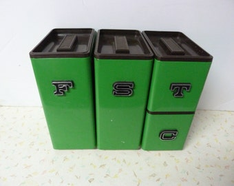 Vintage 1970's Canister Set Kelly Green