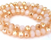 22 champagne and white opalite crystal beads, 8mm two tone taupe and white Chinese crystals