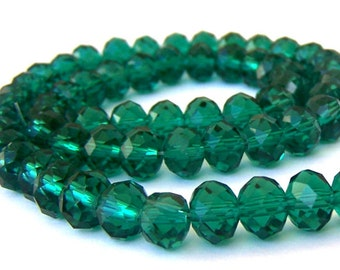 8mm emerald green beads, 8mm green crystal rondelles, Chinese crystal, qty 20